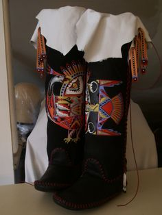 Fantastic Bird Tall Boot Moccasins TEE-PEE-TOES Black Suede Made to Order Cracchiolo Designs. $2,100.00, via Etsy.