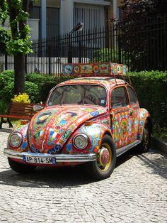 Colorful Volkswagen Beetle in Paris.