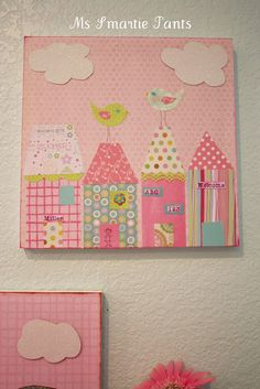 DIY:: Wall Art ! Made with scrapbook paper, how cute!