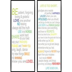 Inspirational Color Quotes, Set of 2 $24.97