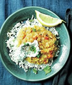 Spiced Dal With Cilantro Yogurt from realsimple.com #myplate #protein #vegetables