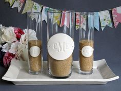 PERSONALIZED Unity Sand Ceremony Set   http://www.etsy.com/listing/96984771/personalized-unity-sand-ceremony-set