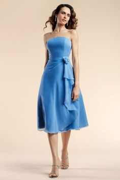 Strapless chiffon bridesmaid dress with dropped waist