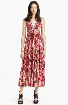 Jean Paul Gaultier Rose Print Double Layered Tulle Maxi Dress available at #Nordstrom