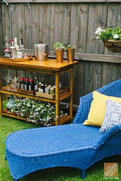 Design blogger Anna Lisemeyer brought new life to her wicker lounger… and added color to her backyard with bright blue spray paint. See more of her outdoor decorating ideas on The Home Depot Blog.