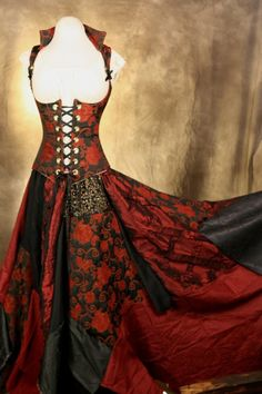 Black and Red Corset and Patchwork Skirt, BEAUTIFUL! no place to wear it :0(