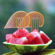 I love these little plastic forks for your fruit salad!