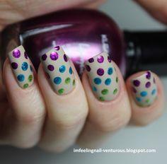 Purple, blue, green polka dot nails