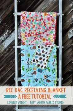 Fort Worth Fabric Studio: Ric Rac Receiving Blanket Tutorial