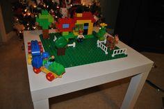 Custom Made Lego Tables for DUPLO Blocks. $65.00, via Etsy.