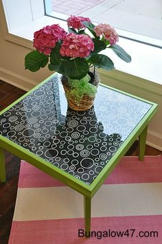 coffee table – CeCe Caldwell paint & fabric under glass top @ DIY Home