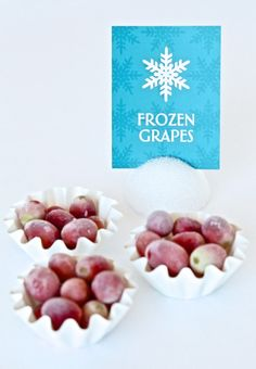 Frozen Grapes and lots of party food ideas for a Frozen Birthday Party at PagingSupermom.com #frozen Crystals 8th birthday party  Disney Frozen Birthday Party - Supplies, cakes and other ideas!  Disney Frozen kids birthday party anna elsa olaf decorations favors food snacks dessert drinks snowflake snowman #LipstickNBruises