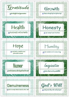 100 Value Cards (G-I) inspired from Motivational Interviewing. Print out on Avery business cards and use with clients to help them define and prioritize their values.