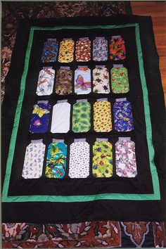 Canning jar quilt...how cute! For a kid, get material that shows their favorite things to do when they were little and it becomes a keepsake!