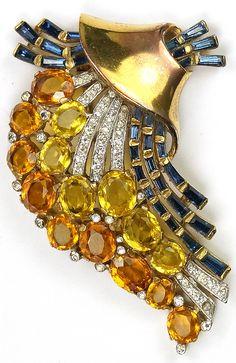 Trifari 'Alfred Philippe' Gold Citrine Topaz and Sapphire Deco Swirl Pin Clip