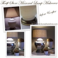"Transform a thrift store lamp into a mirrored ""mercury glass"" look...tutorial also gives instructions to recover the lamp shade!"