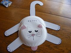 Kitty starts with K. Paper plates, white cardboard and cardstock. Cut out pieces and glued together.