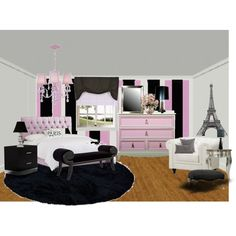 Paris decor Girls room, created by tanyaf1 on Polyvore