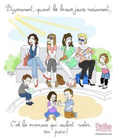"""Quand c'est maman qui insiste pour aller au parc  """"Les enfants, on va au parc ! Allez-allez, bougez-vous ! """" : paroles de mère folle ? Non, paroles de mère qui a envie de se faire bronzer le minois en douce en surveillant les enfants derrière ses belles lunettes de soleil !  Justement, c'est le thème de la nouvelle illustration de Marie Crayon."""