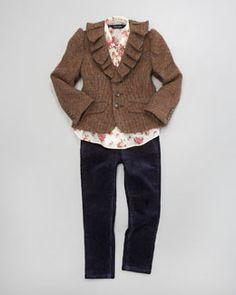 -3W19 Ralph Lauren Childrenswear Tweed Blazer, Floral Blouse & Corduroy Leggings