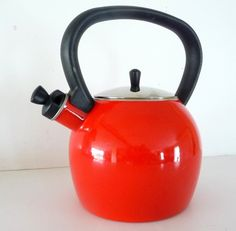 retro red tea kettle