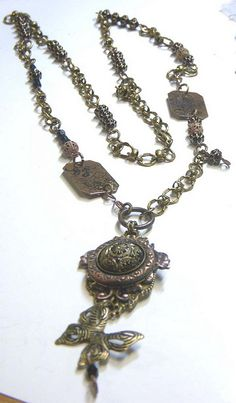Easy Victorian inspired assemblage necklace by B'sue using Stamped Tags and brass stampings from bsueboutiques.com