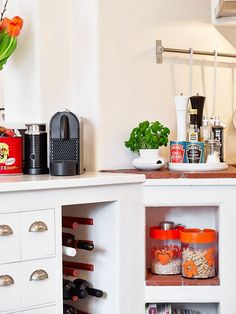 Bright Small Apartments Decorated Beautifully and Comfortably: Chic Traditional Kitchen Design With Hidden Wine Cellar Idea Decorade With Re...