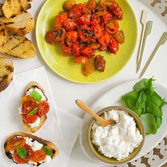 Caramelized Tomato Bruschetta appet, food safety, sunset, tomato bruschetta, fresh tomato, grills, tomato recipes, tomatoes, caramel tomato