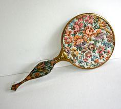 Vintage Hand Mirror - Lucite Handle & Tapestry Design
