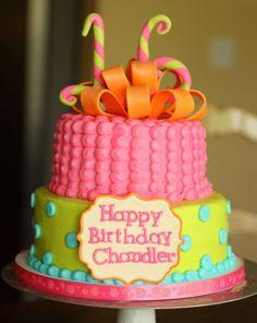 Bright colored 16th birthday cake.