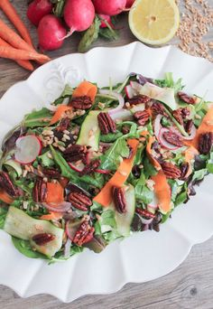 Shaved Vegetable Salad with Farro and Maple Roasted Pecans