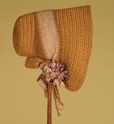 Fancy Straw Poke Bonnet, 1840s