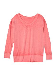 calypso coral lightweight Long sleeve plus size burnwash tee (original price, $28) available at #Maurices
