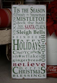 Christmas Typography Word Art Sign 'Tis the Season in Weather Worn White Vintage Style. $95.00, via Etsy.