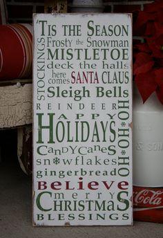 Christmas Typography Word Art Sign 'Tis the by barnowlprimitives, $95.00   #barnowlprimitives #boppintowin
