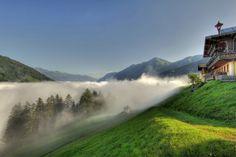 Morning mist in Bad Gastein, Salzburg, Austria  #austria #badgastein #landscape #morning #sun #mist #summer