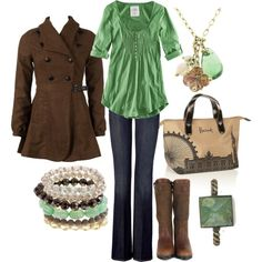 brown and turquoise, created by lagu.polyvore.com jacket, mint green, purs, color combos, fashion styles, outfit, bags, coat, shirt