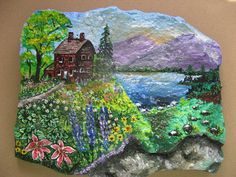 country cottage scene painted in acrylic on stone slab  $31.64