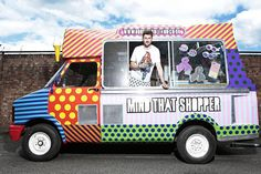 """House of Holland has fused the idea of a mobile retail truck, and a pop-up store, to create a """"roving flagship"""" in the UK. The mobile flagship store is housed inside a traditional ice cream van, and will be selling an exclusive capsule collection of the brand's signature polka dots, candy stripes and acid brights. #PopUpRetail #UK trucks, houses, vans, fashion forward, fashion blogs, ice cream, pop, cream van, henri holland"""