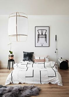 Bed on the floor with a clean look.