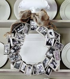 Love this idea! A bunch of dollar store small frames to create a meaningful wreath. Great anniversary, retirement or birthday gift.Using red ribbon could even make it for Valentines!  I could do this for part of Mom and Dad's housewarming gift also.