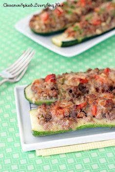 Cheeseburger Stuffed Zucchini Boats