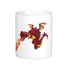 Fire Breathing Dragon Illustration Mugs