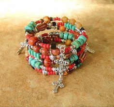 Layered Cross Bracelet Turquoise Boho Bracelet by BohoStyleMe