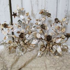 Shabby chic tole candle holders