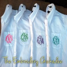 Monogrammed Bridesmaid Shirt- Oversized Mens Button Down. $33.00, via Etsy. Monogrammed Bridesmaid Shirt- Oversized Mens Button Down. $33.00, via Etsy. Like my friend MA's page on FB too! Miss my VOE girls!  DC ;-) she's a great Embroidery Chickadee! Love her monogram items!