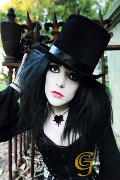 #Goth girl in top-hat