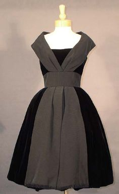 SUPERB Black Velvet 1950's Cocktail Dress w/ Faille Accents VINTAGEOUS VINTAGE CLOTHING