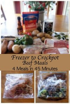In less than an hour, you'll have 4 beef recipes to throw in the freezer.  When you have a busy day coming, you can thaw one overnight in the freezer & put in the crockpot in the morning for a delicious dinner!