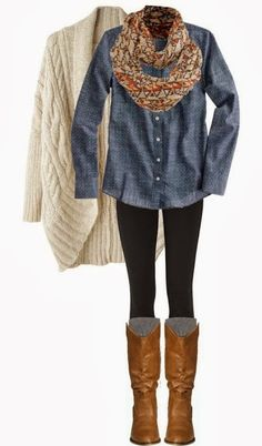 sweater, fashion, cloth, infinity scarfs, casual fall, leather boots, denim shirts, fall outfits, brown boots
